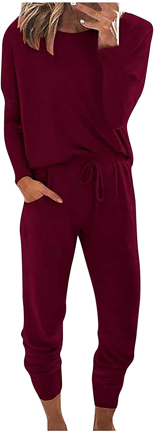 Loungewear Set for Women Long Sleeve Two Piece Outfit Tops and Pants Solid Sweatsuits Pajamas Sleepwear Pjs Sets