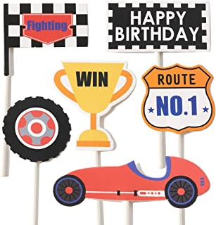 C L COORPER LIFE Race Car Cupcake Cake Topper Decoration for Boy Birthday Racing Car Theme Party Let's Go Racing Dessert Toppers Supplies Photography Props
