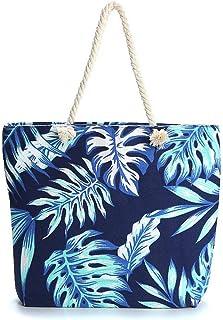 HJFGSAK eco friendly shopping bag White Handle Carry-all Bag Eco Shopping Tote Tropical Leaves Weekender Tote Beach Goers ...