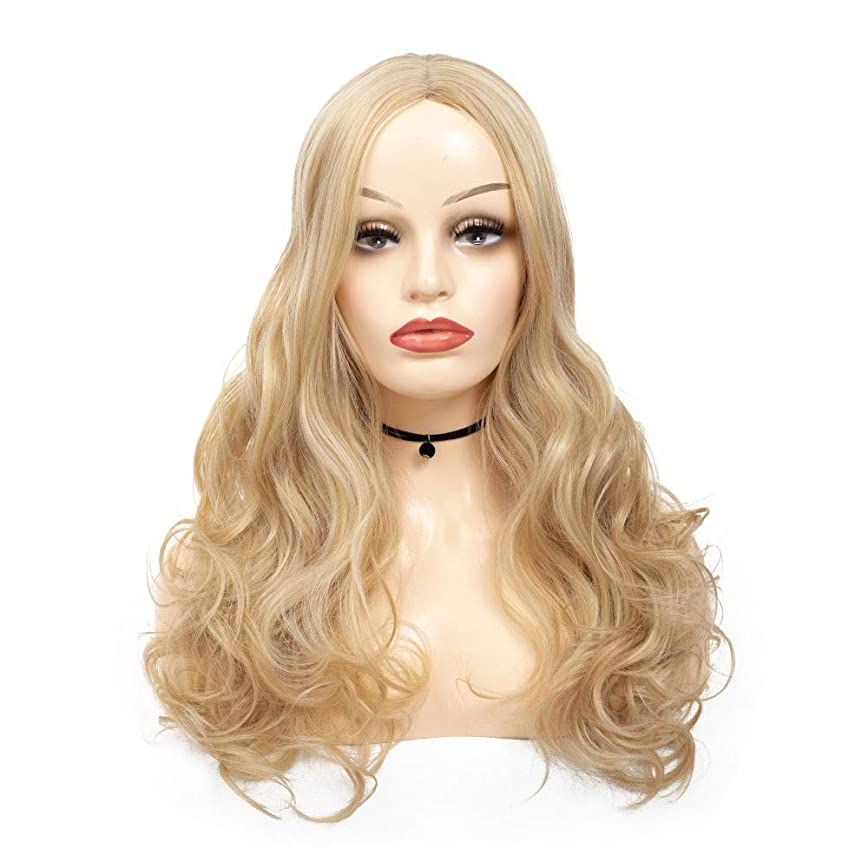 計器セマフォ管理YESONEEP 長いブロンドのかつら高温かつら実体波長い波状の女性合成かつらブロンドのかつら巻き毛のかつらかつらパーティーかつら (Color : Blonde, サイズ : 70cm)