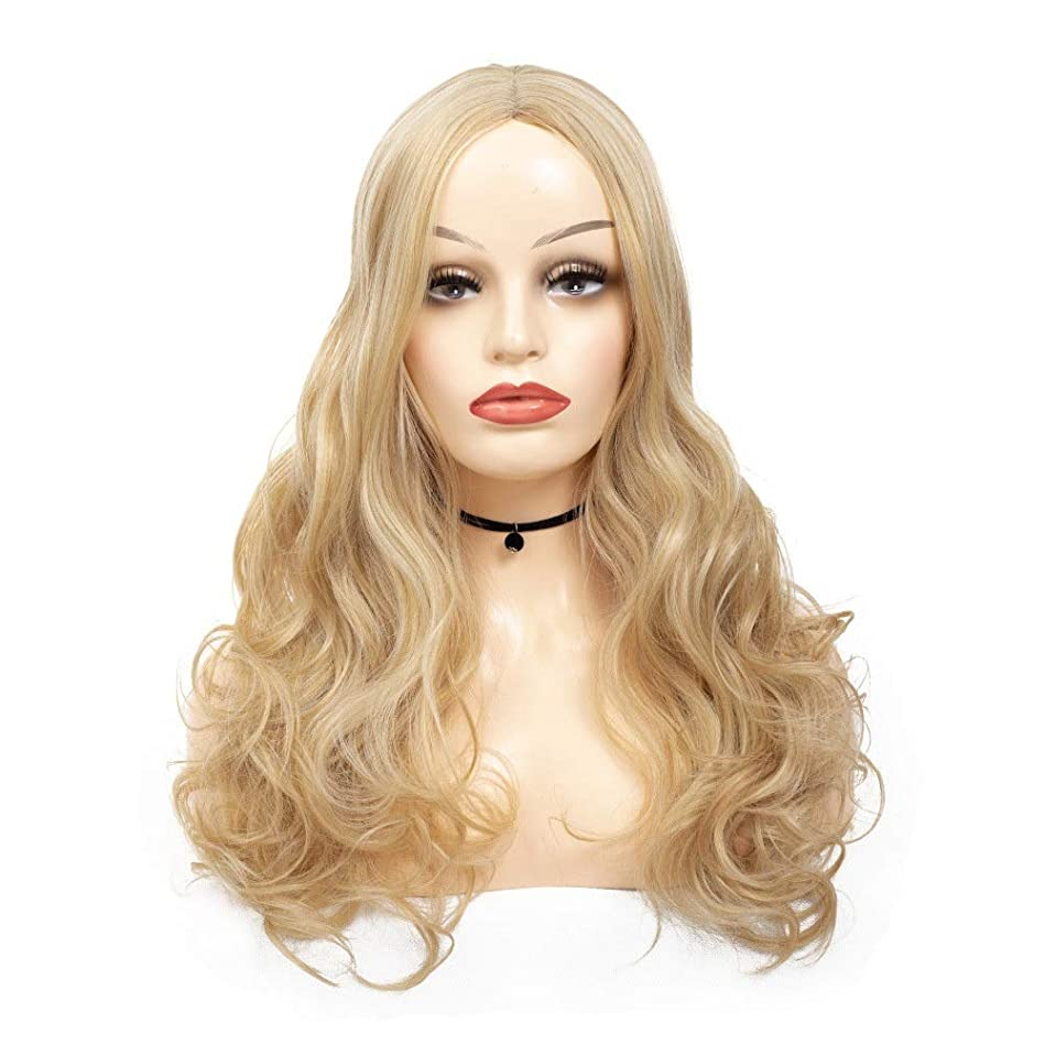 入口最愛のズームインするかつら 長いブロンドのかつら高温かつら実体波長い波状の女性合成かつらブロンドのかつら巻き毛のかつらかつらパーティーかつら (色 : Blonde, サイズ : 70cm)