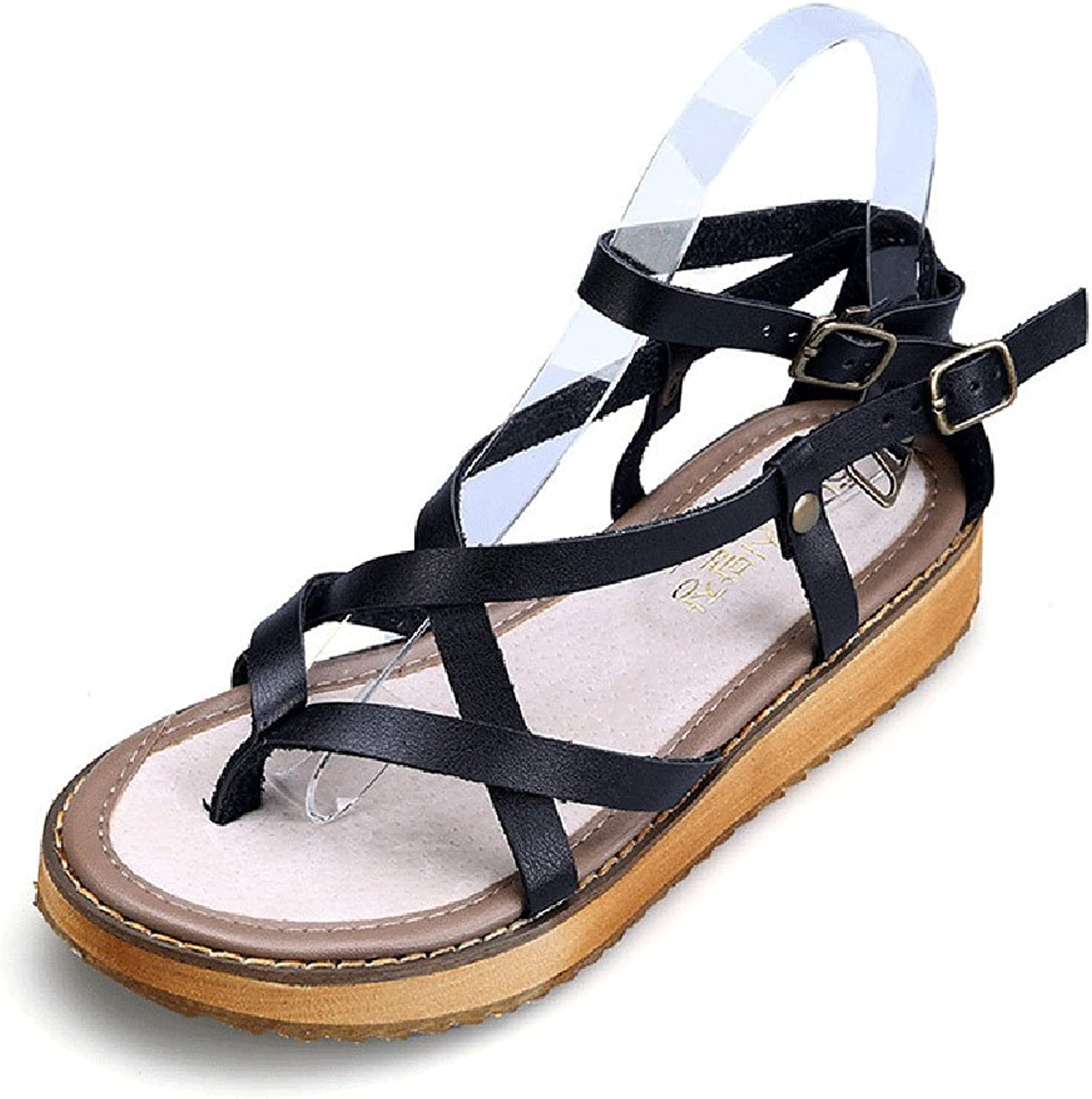 Fuoks Leather Summer Outdoor Flat Sandles Women's Sandals