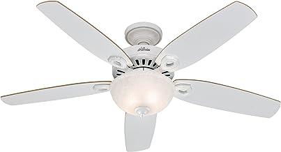 Hunter 132 cm   52 pouces Builder Deluxe Ventilateur de Plafond Blanc Neige avec Système d'Éclairage et Chaînette, 50570