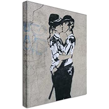 Banksy Female Kissing Cops CanvasLARGE WALL ARTprint street police women