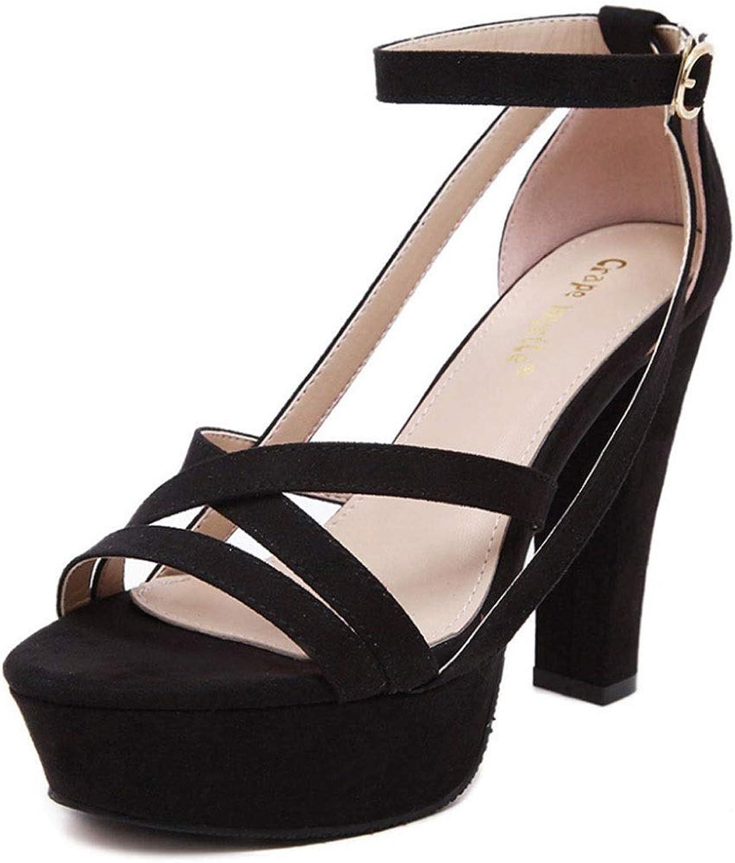 Women's Sandals Summer High Heel Open Toe Fish Mouth Roman shoes Black Apricot (color   B, Size   6.5 US)