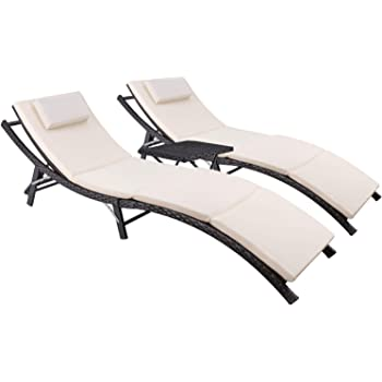 Devoko Patio Chaise Lounge Sets Outdoor Rattan Adjustable Back 3 Pieces Cushioned Patio Folding Chaise Lounge with Folding Table (Beige)