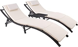Devoko Patio Chaise Lounge Sets Outdoor Rattan Adjustable Back 3 Pieces Cushioned Patio Folding Chaise Lounge with Folding...