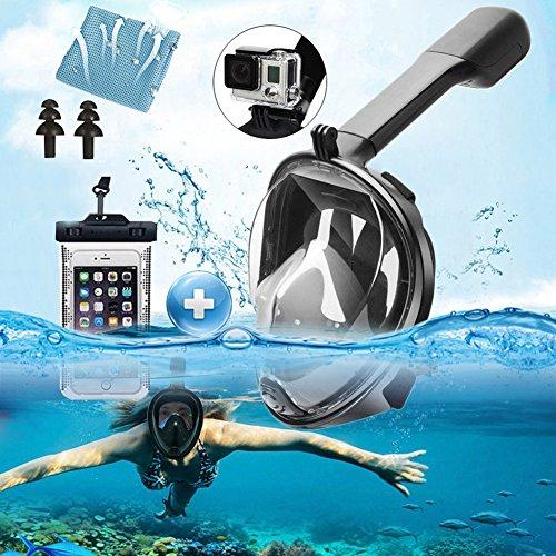 Srwmml qfht 180° Full Face Schnorchel Maske–Panorama Meer Tauchmaske und Schnorchel bei Gropro Halterung Anti-Fog Anti Leck Schwimmen Maske für Erwachsene, Schwarz