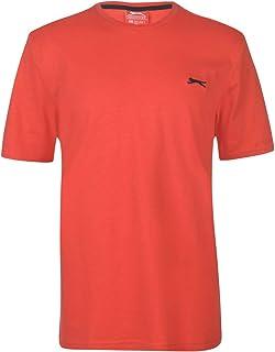 Slazenger Mens Plain T Shirt Crew Neck Tee Top Short Sleeve Lightweight Cotton Red Large