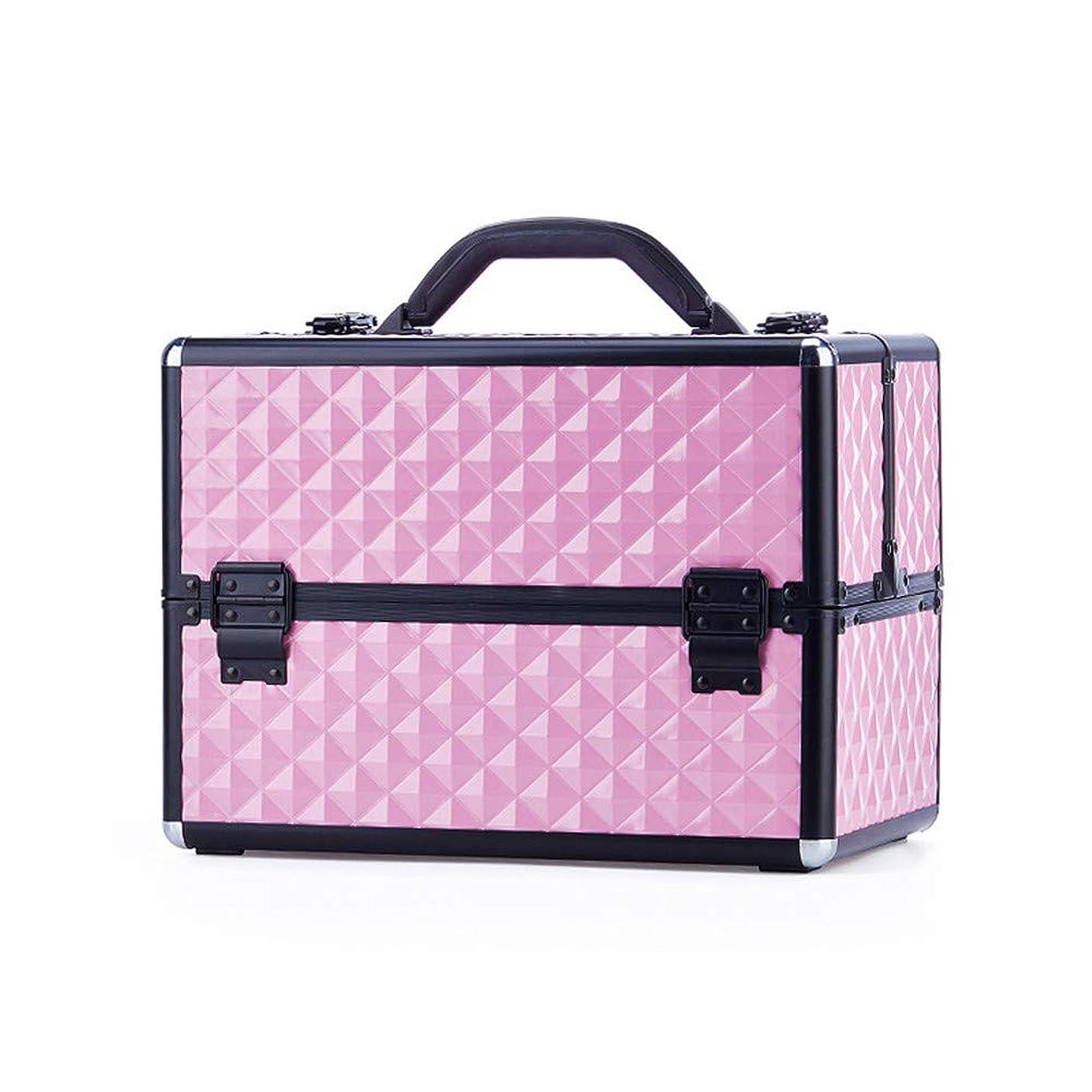 分解する可動特大スペース収納ビューティーボックス 美の構造のためそしてジッパーおよび折る皿が付いている女の子の女性旅行そして毎日の貯蔵のための高容量の携帯用化粧品袋 化粧品化粧台 (色 : ピンク)