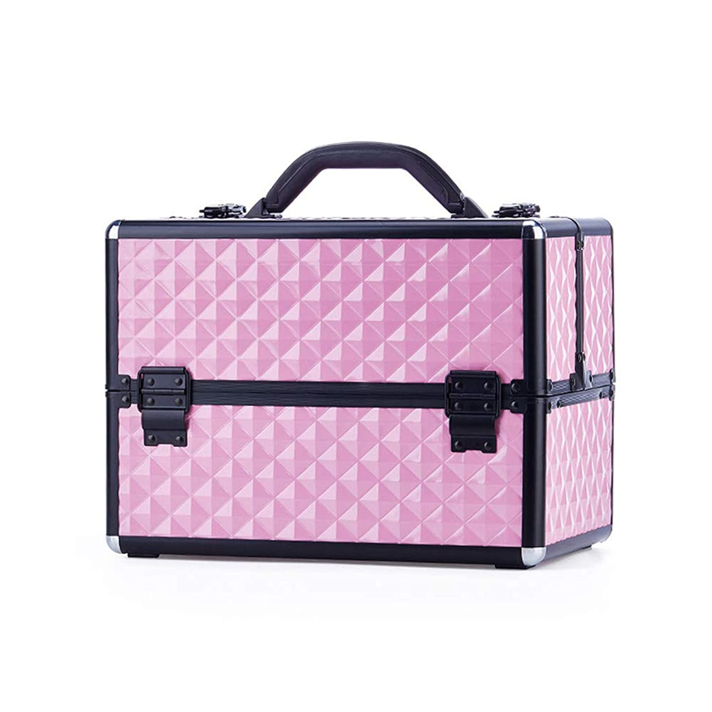 事前ブラシご注意特大スペース収納ビューティーボックス 美の構造のためそしてジッパーおよび折る皿が付いている女の子の女性旅行そして毎日の貯蔵のための高容量の携帯用化粧品袋 化粧品化粧台 (色 : ピンク)