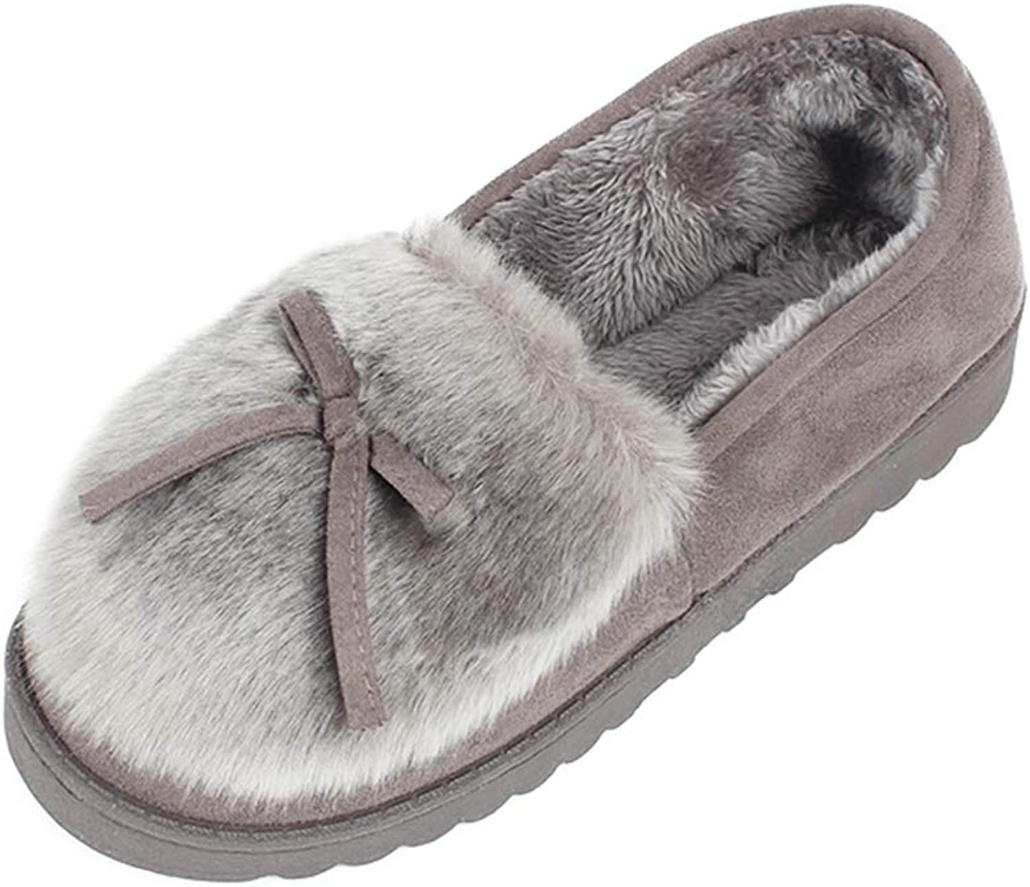 Zarbrina Winter Suede Fabric Bowknot Non-Slip Women Home Slippers Breathable Warm Soft Indoor Bedroom Spa shoes