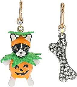 Pumpkin Dog Non-Matching Earrings