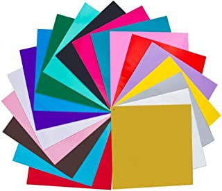 "SWISSELITE 20 Pack 12"" X 12"" Premium Permanent Self Adhesive Vinyl Sheets-Assorted Colors (Glossy,Metallic and Brushed Metallic) for Cricut,Silhouette Cameo,Craft Cutters,Printers,Letters,Decals"