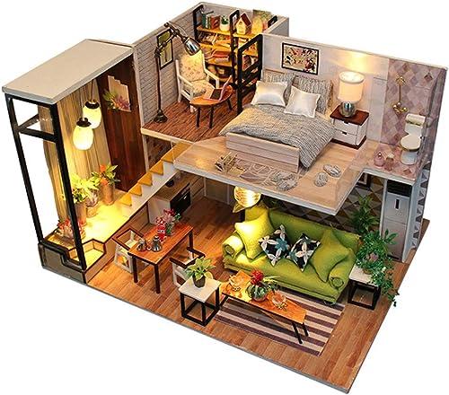 Kit miniature maison de poupée bricolage Maison de bricolage nordique rohommetique sans couverture Mini maison assemblée en bois Flash Un cadeau d'anniversaire en bois Maison de poupées avec meubles et