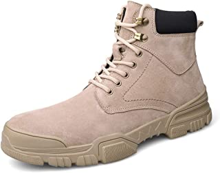 Sunny&Baby Ankle Boot for Men Work Booties Lace up Genuine Leather Round Toe Stitch Contrast Collar Anti-Collision Toe(Fleece Lined Optional) Durable (Color : Khaki, Size : 8 UK)