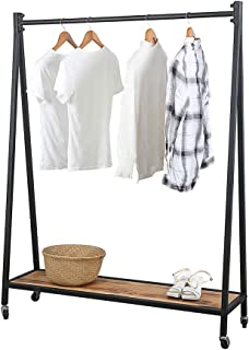 GWH Retro Iron Clothing Racks with Wood Shelves 59in,Retail Rolling Display Rack with Wheels,Commercial Standing Clothes Racks for Hanging Clothes,Metal Heavy Duty Wooden Garment Rack(Black)