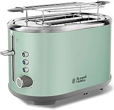 Russell Hobbs Toaster Bubble grün, 2 extra breite Toastschlitze, inkl. Brötchenaufsatz, 6 einstellbare Bräunungsstufen  Auftau- & Aufwärmfunktion, Schnell-Toast-Technologie, 930W, Retro 25080-56