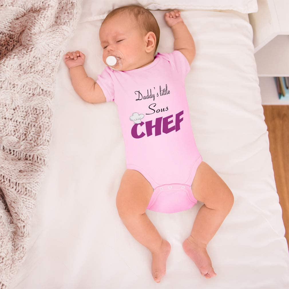 Custom Baby Bodysuit Daddys Little Sous Chef Dad Fathers Day Funny Cotton