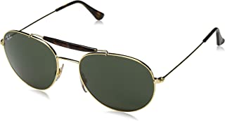 RB3540L Round Metal Sunglasses, Polished Gold/Green, 56 mm