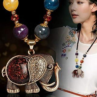 Beetoo Bohemian Elephant Pendant Necklace, Boho Long Black Beaded Jewelry Pendant Necklace Chain for Women Girls