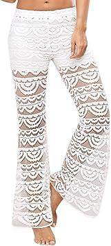 Sunnyuk Pantalones De Mujer Verano 2019 Casual Pantalones De Vestir Encaje Elegante Palazzo Pantalon Mujer Pantalones Baggy Perspectiva Pantalones Amazon Es Deportes Y Aire Libre