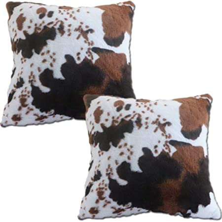 Entua 2 Pcs Faux Fur Rabbit Cow Hide Pillows Cover Decorative Cow Skin Throw Pillow Covers Case Luxury Farm Animal Print Soft Plush Pillow Cover Brown And White Cushion Cover For