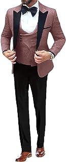 UMISS Men's 3 Piece Suit Floral Slim Fit Jacquard Tuxedos Pattern Print Party Dinner Jacket Vest Pants Sets
