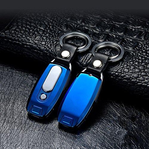 Lingan Feuerzeuge USB-Feuerzeug, tragbar, aufladbar, flammenlos, winddicht, elektronischer Zigarettenanzünder mit Schlüsselanhänger-Taschenlampe, blau