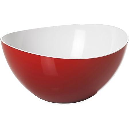 Omada Design Bol à salade ou à pâtes 20 cm, 1,5 L, en plastique incassable, empilable et va au lave-vaisselle, Ligne Tendance, Blanc et Rouge