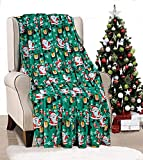 Décor&More Ho Ho Ho Merry Christmas Collection Microplush Holiday Throw Blanket (60' x 50') - Green Santa