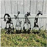 2021 Garden Metal Gnome Stakes, Hollow Out Faceless Tomte for Spring Easter Home Garden Décor - Garden Yard Art Outdoor Ornaments
