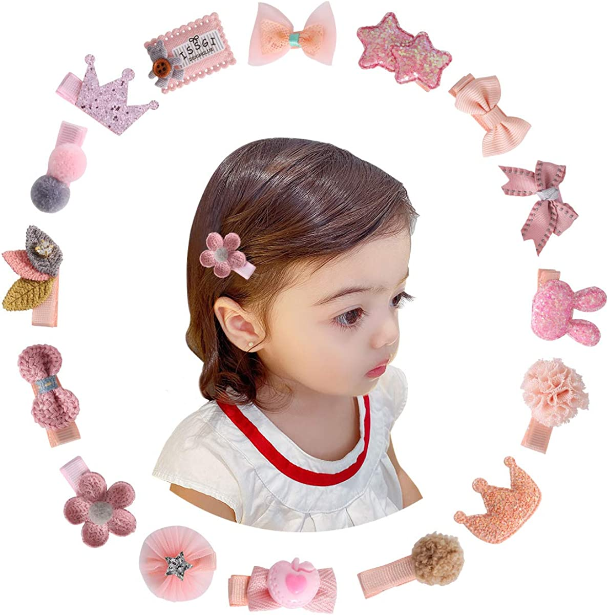 Dawoowoo 16 Pieces Baby Girls Hiar Clips Cute Hiar Bows Flower Hiar Clips Barrettes for Infant Toddlers Kids Hair Accessories