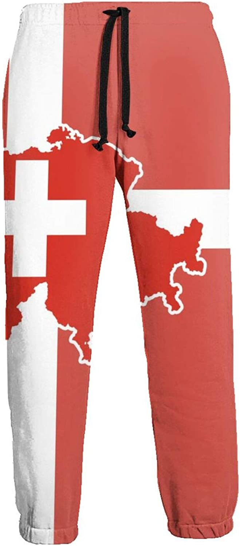 Cey99P-A Men's Switzerland Map Jogger Sweatpants Drawstrin Super sale period limited Flag Max 55% OFF