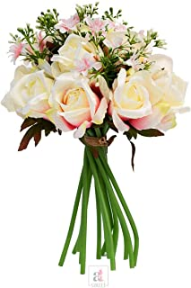 Art Street Set of 1 Artificial 9 Head White Rose Flowers with Stem for Home Decoration, Perfect for Decorating a, Home Gar...