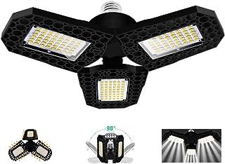 Éclairage de Garage à LED 80W,Ampoule de Plafond Déformable E27 Avec 3 Panneaux Réglables,Ultra-lumineux 8000LM Blanc Froi...