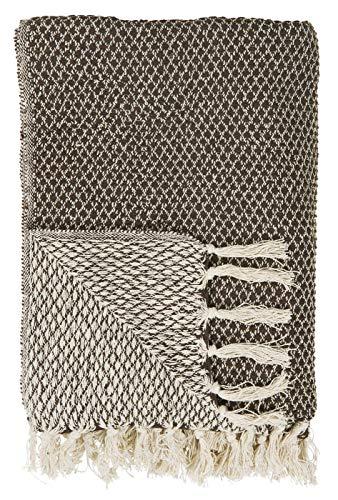 IB Laursen - Plaid - Decke - Bettüberwurf - Tagesdecke - Dunkelbraun/Creme - Muster - Baumwolle - 160 x 130 cm