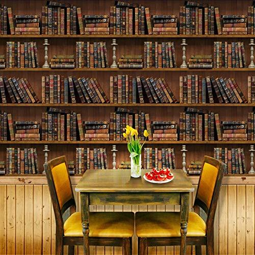 3D Retro Estantería Pegatinas De Pared Decoración Del Hogar Sala De Estar Dormitorio Restaurante Sala De Estudio Decoración De La Pared Papel Tapiz Mural 250(Ancho) X175(Alto) Cm