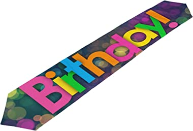 MaMacool Double-Sided Happy Birthday Polyester Table Runner Placemat 13 x 70 inch, Modern Table Top for Office Kitchen Dining