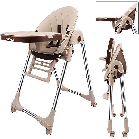OUNUO Trona para Bebe Evolutiva, Trona para bebés con bandeja extraíble, Ajustable y Plegable con 4 ruedas , crece con el niño 0 meses - 6 años,Segura (Beige)