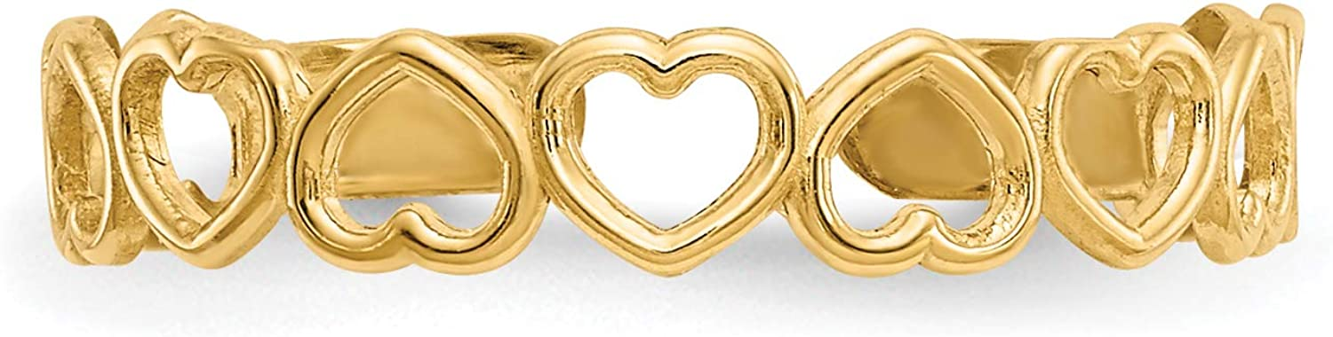 14k Yellow Gold Polished Alternating Open Hearts Toe Ring