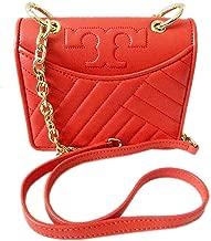 Tory Burch Womens Alexa Micro Mini Leather Crossbody Bag, Brilliant Red