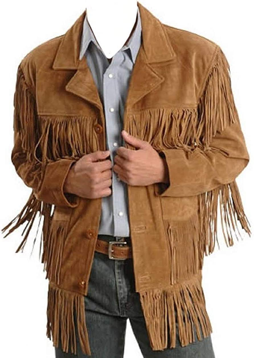 Chaqueta de cuero occidental de vaquero tradicional para hombre con flecos chaqueta nativa americana ante
