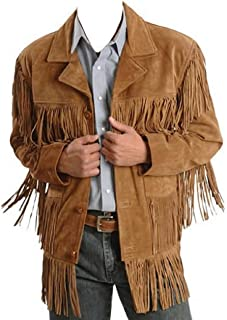 Handmade Western Leather Jacket with Fringe & Beaded Inidan Suede Leather Jacket