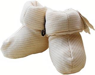 ベビーシューズ プレシューズ 室内用 練習用 中綿靴下 ストライプ柄 ベージュ コットン100% [DELEBAO]