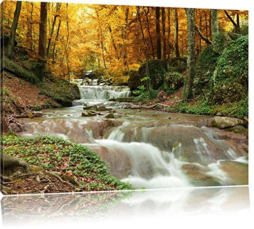 Waldbach im Herbst, Format: 100x70 auf Leinwand, XXL riesige Bilder fertig gerahmt mit Keilrahmen, Kunstdruck auf Wandbild mit Rahmen, günstiger als Gemälde oder Ölbild, kein Poster oder Plakat