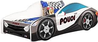 MEBLE FURNITURE & RUGS Kids Twin Size Platform Bed Frame, Cop Police Car Bed Design, Black