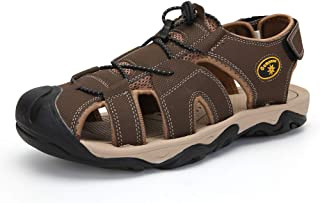SUN COUNTRY Men Sandals Closed Toe Fashion Outdoor Non-Slip Comfy Shoes Summer Fisherman Beach Slipper Brown-48