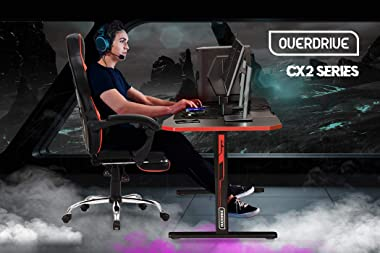OVERDRIVE CX2 Series Gaming Carbon Fiber Style Computer PC Desk, Black and Red, with Headset Holder, Gaming Mouse Pad
