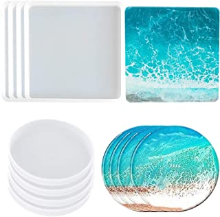 8 Pack Coaster Molds for Resin Casting,4 Pack Square Coaster molds and 4 Pack Round Epoxy Resin Molds Silicone,Great for M...